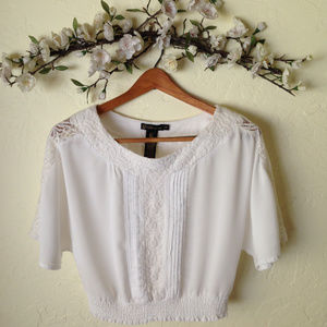 GRASS Collection White/Ivory Lace Boho Crop Top